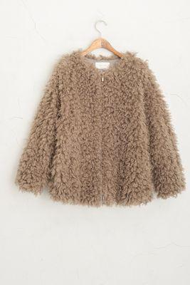 Boucle Fur Free Jacket, Mocha