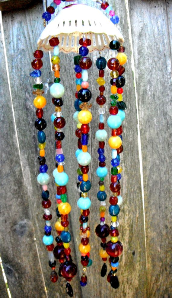 Crystal Bead Mobile Wind Chimes Hanging Garden Art By Mscenna