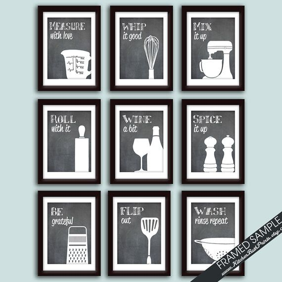 modern kitchen art cabinet photos funny print set of 9 prints featured on 5x7 blackboard and quotes etsy 57 04