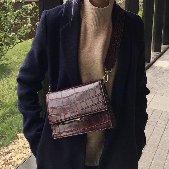Mini Flap Bag - Brown Croc #bags