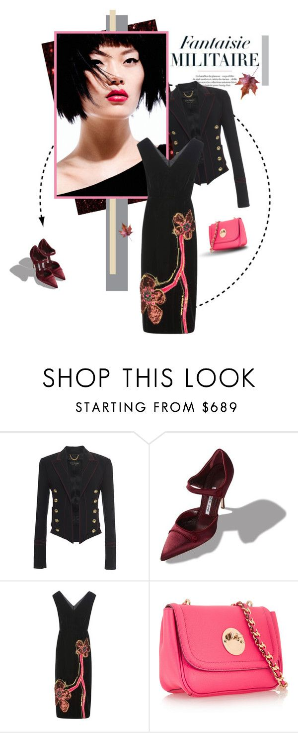 """Beauty...and some military"" by edita1 ❤ liked on Polyvore featuring Burberry, Manolo Blahnik, Prada and Hill & Friends"