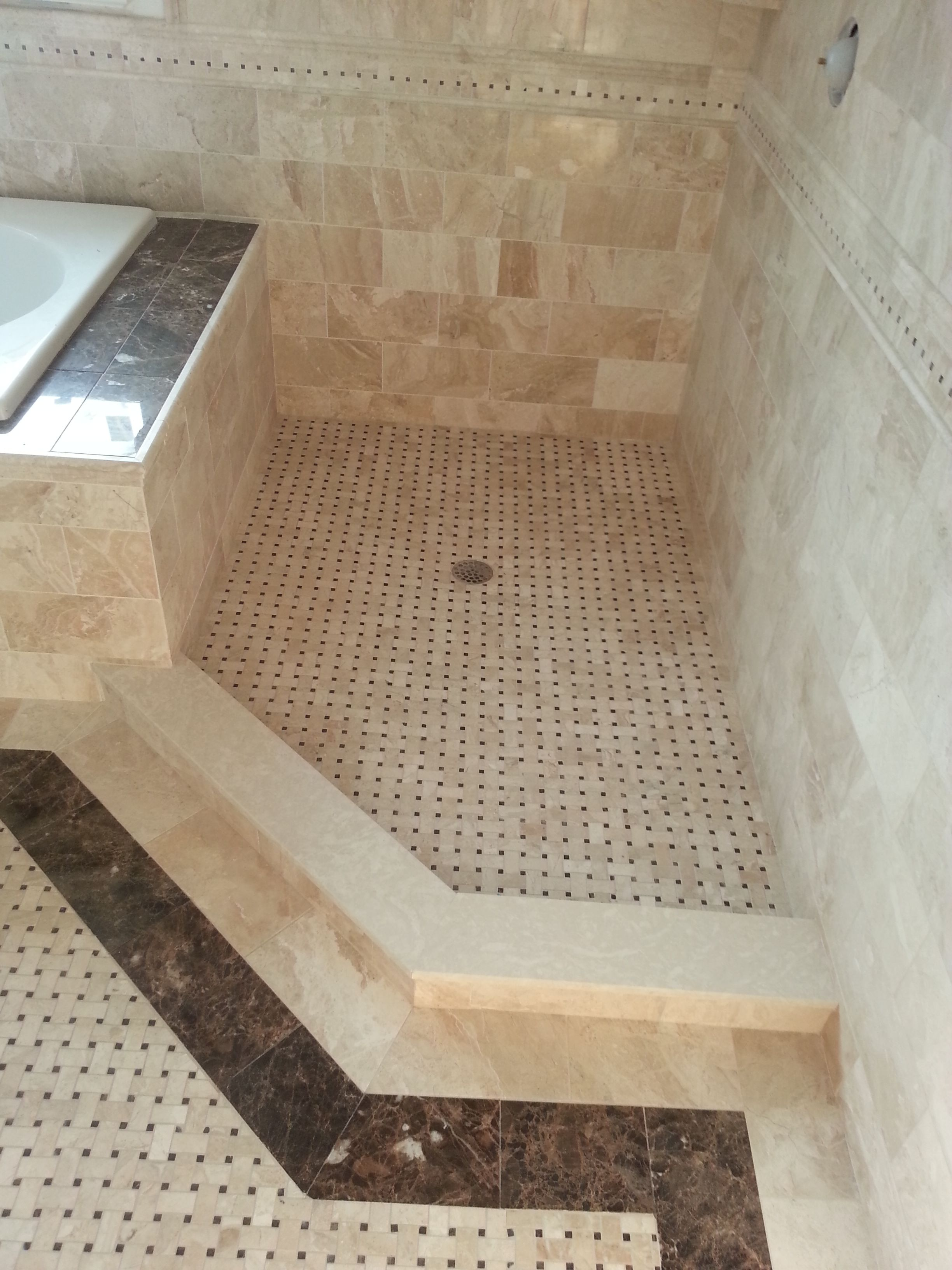 Crema Marfil Basket Weave Pattern Marble Tile Bathroom Tile Bathroom Marble Bathroom