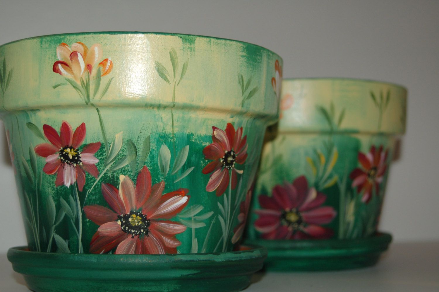 Free Images To Paint On Clay Pots Hand Painted 4 Flower Pots Macetas Pintadas Macetas Decoradas Ideas De Maceta