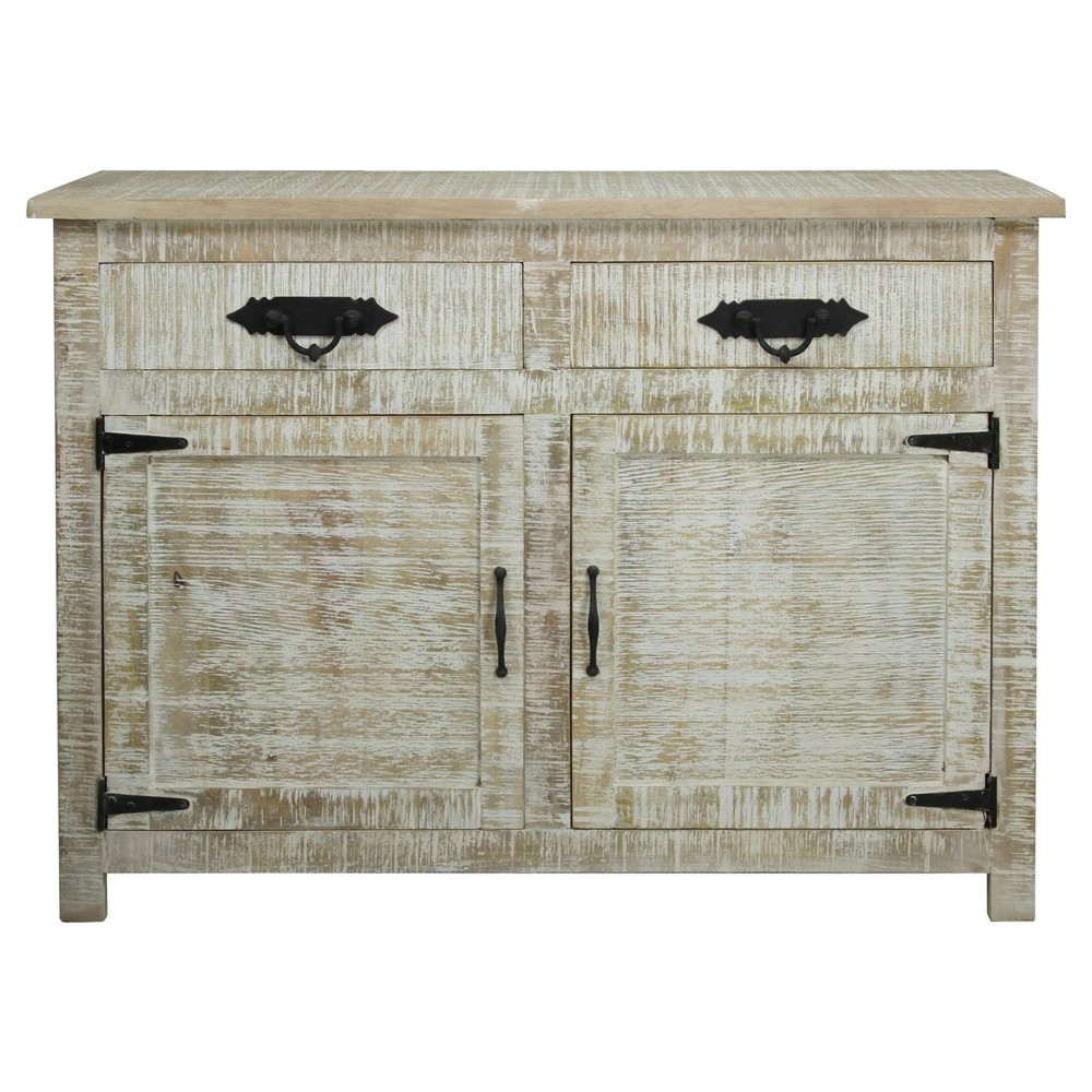 Stylecraft cabinets - Solid Mango Wood 2 Door Storage Cabinet With 2 Drawers And Metal Hardware Distressed White