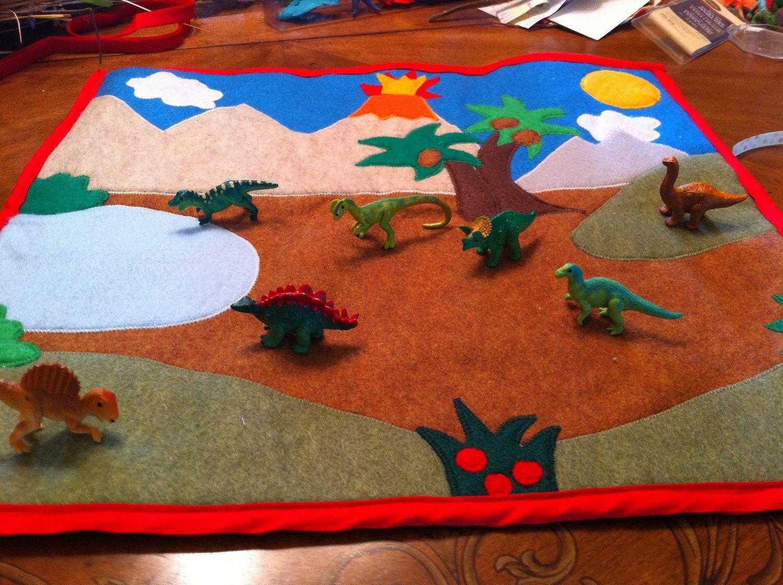 Felt Play Mat A Foldable Dinosaur Themed Felt By Homemadeheartfelt 40 00 Felt Play Mat Felt Toys Playmat