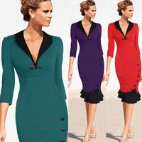 2015 Women Elegant Patchwork Party Bodycon Pencil Sheath Dress Womens Midi Dress Club Wear Mermaid dress S-2XL