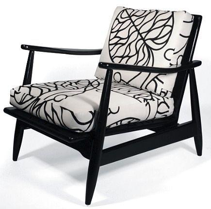 mid century modern black lacquar lounger chair with Marimekko fabric