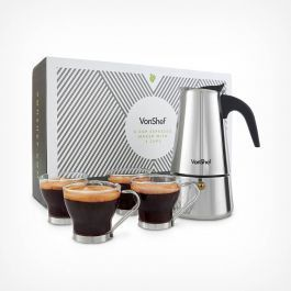 6 Cup Espresso Maker with 4 Cups #espressomaker VonShef 6 Cup Espresso Maker with 4 CupsGive your favourite barista a run for their money with the VonShef 6 Cup Espresso Maker!Coffee shop trips don't come cheap, but with this easy to use espresso maker you can cut back on time and expense. Whether you need a strong espresso to get you going first thing in the morning, or to get you through your afternoon, this coffee maker is worth its weight in gold.The cafetière's generous capacity means #espressomaker