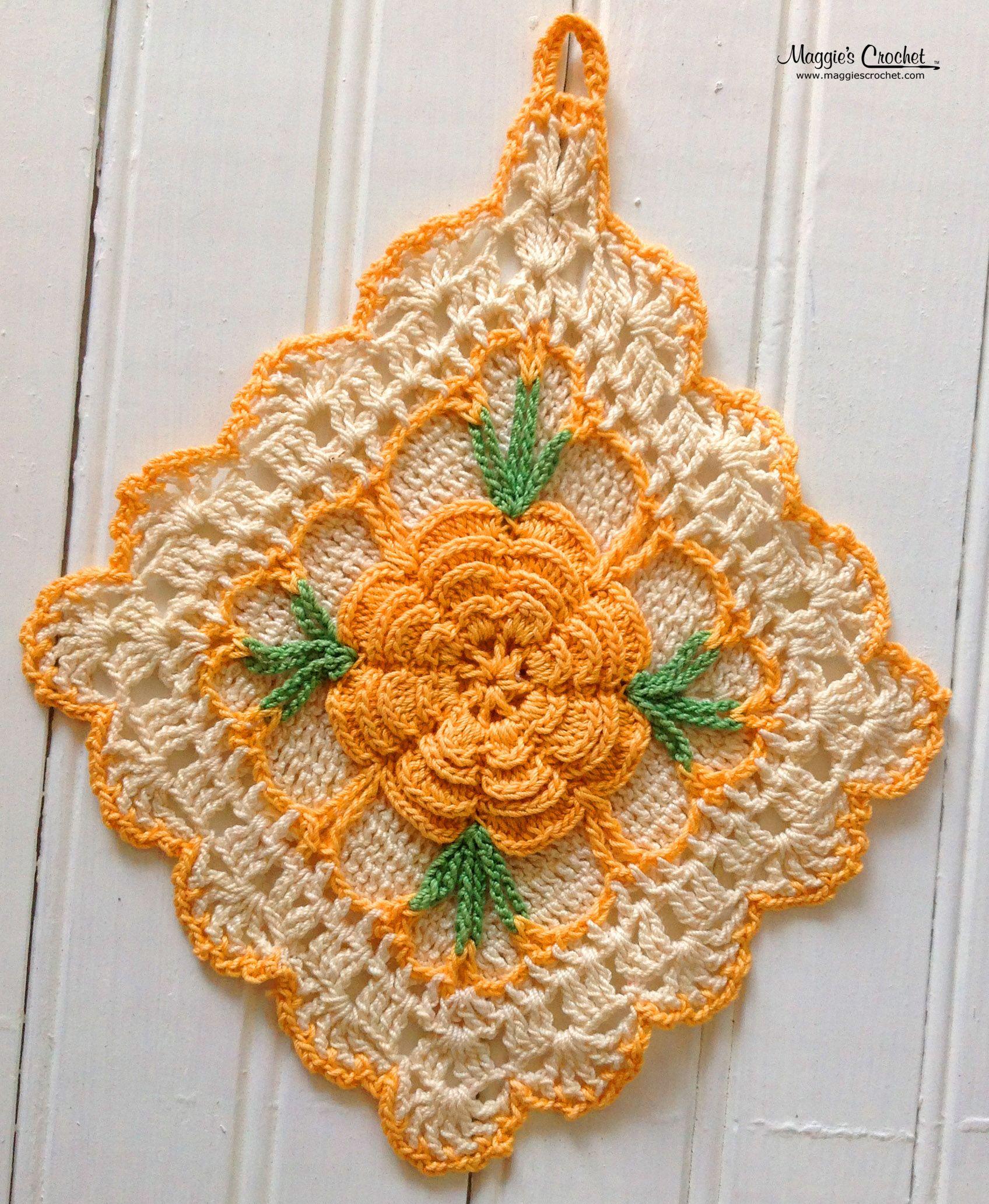 Vintage Crochet PATTERN to make Pot Holder Sun Flower Hot Pad Mat