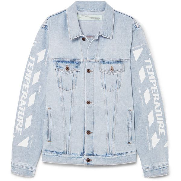 featuring denim printed jacket distressed Oversized White Off 0qxwASFF