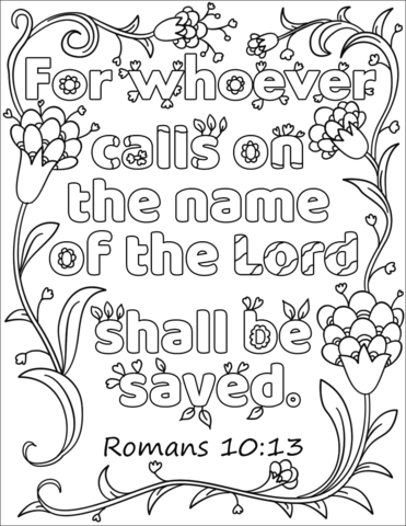Whoever Calls On The Name Of The Lord Shall Be Save Coloring Page
