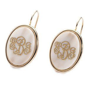 Acrylic Vineyard Oval Monogram Dangle Earrings | Three Hip Chicks