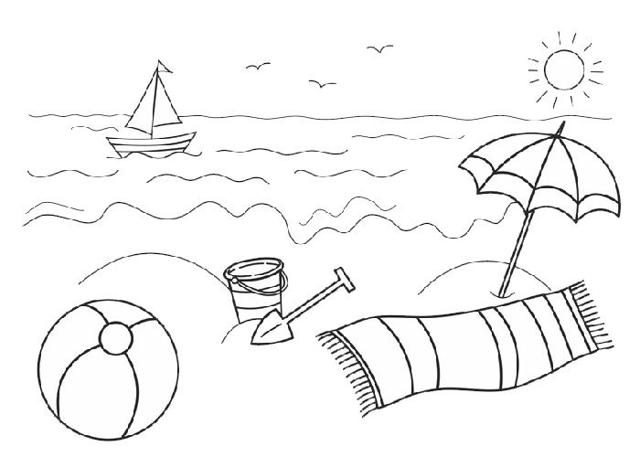 Beach And Ocean Coloring Pages Sketch Coloring Page Summer Coloring Pages,  Beach Coloring Pages, Summer Coloring Sheets