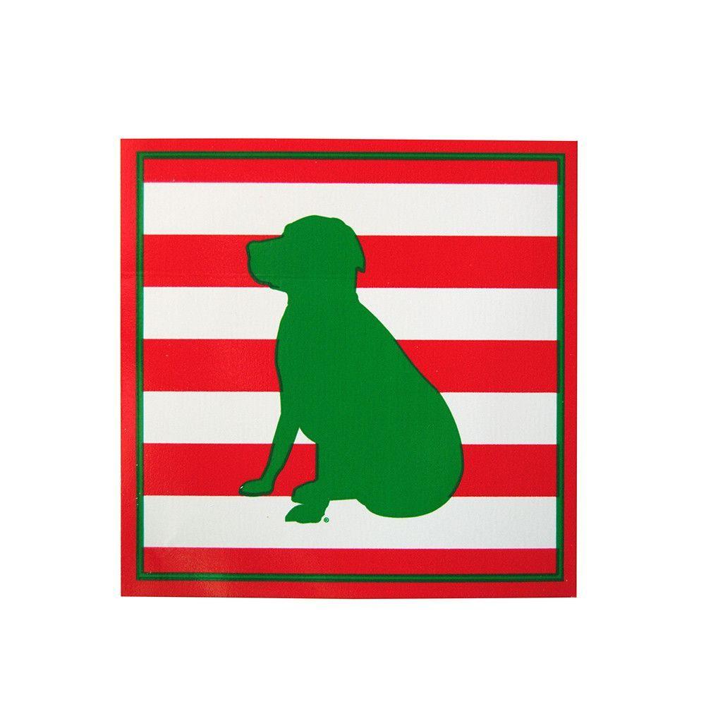 Striped Lab Sticker in Red/Green