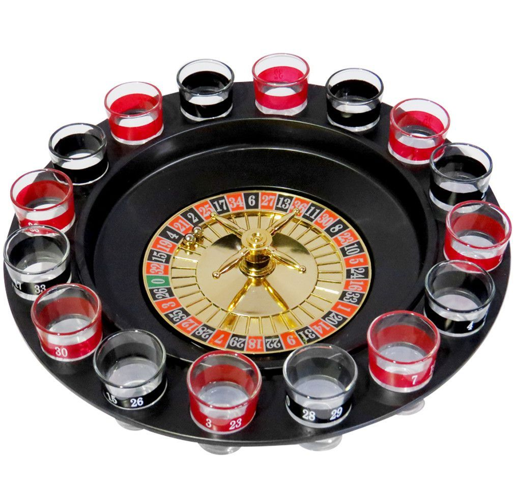 Evelots Casino Shot Glass Roulette Drinking Game Set with
