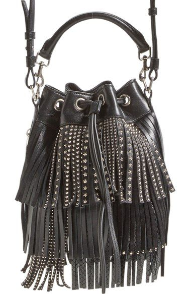 Saint Lau Small Emmanuelle Studded Fringe Bucket Bag Available At