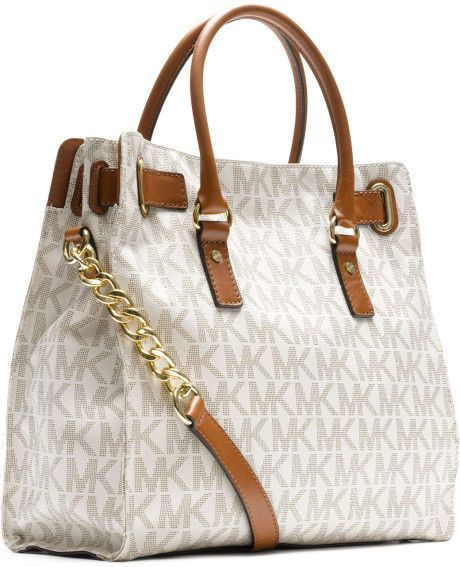 52be09c32a0b Michael Kors Women's Hamilton Large Logo Leather Top-Handle Tote Vanilla  bags #MichaelKors #TotesShoppers