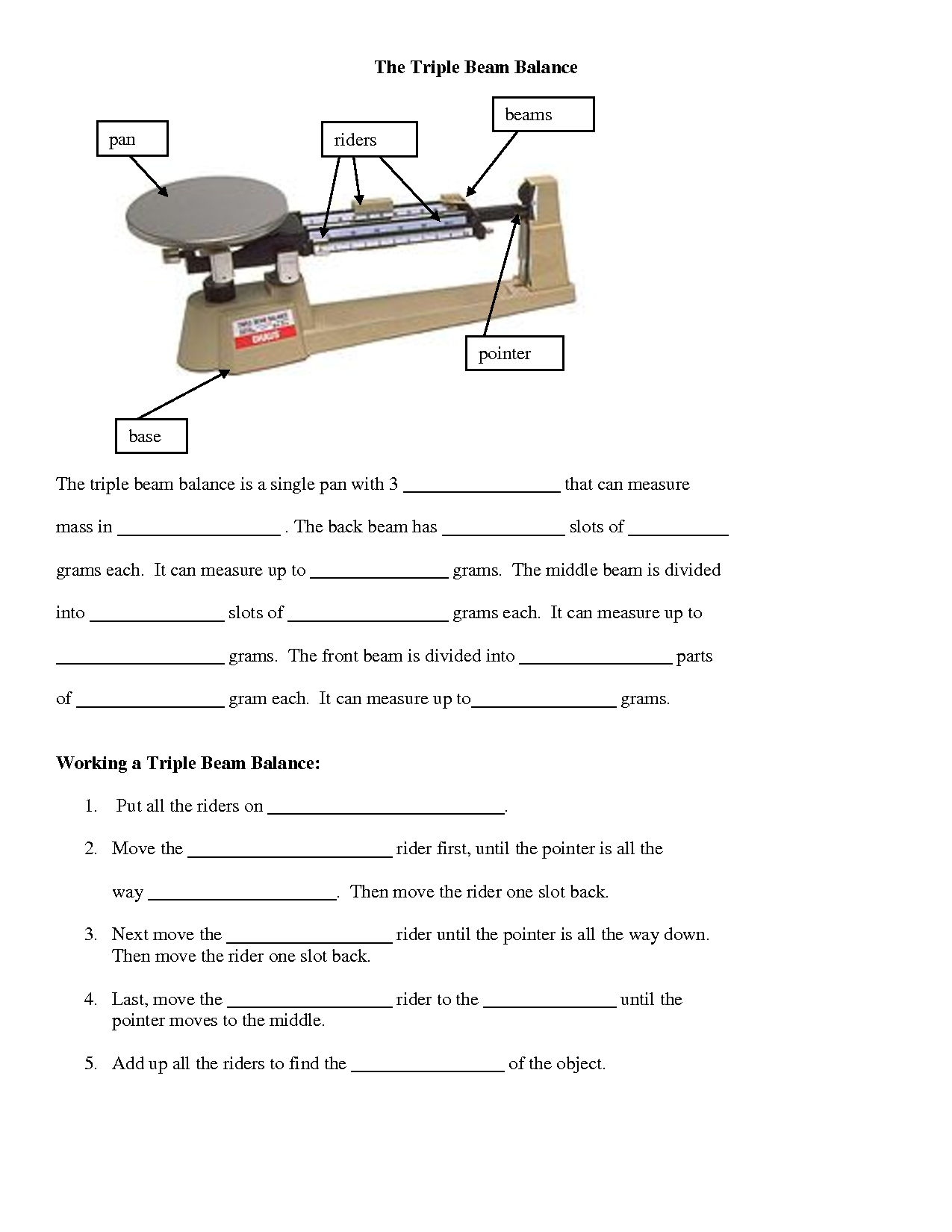 Triple Beam Scale Worksheet