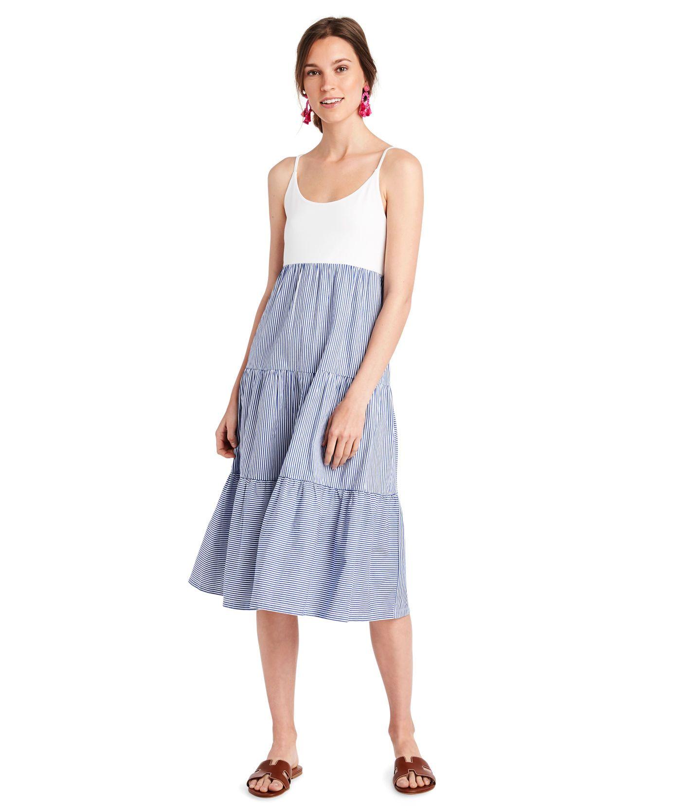 Shop Mixed Media Tiered Dress At Vineyard Vines Tiered Dress Simple Dresses Dresses [ 1667 x 1400 Pixel ]
