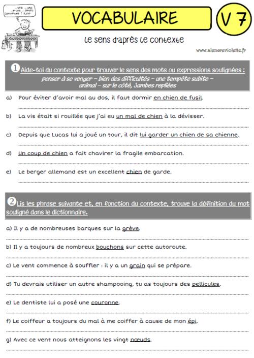 UNE ANNEE DE VOCABULAIRE   Vocabulaire, Exercices de ...