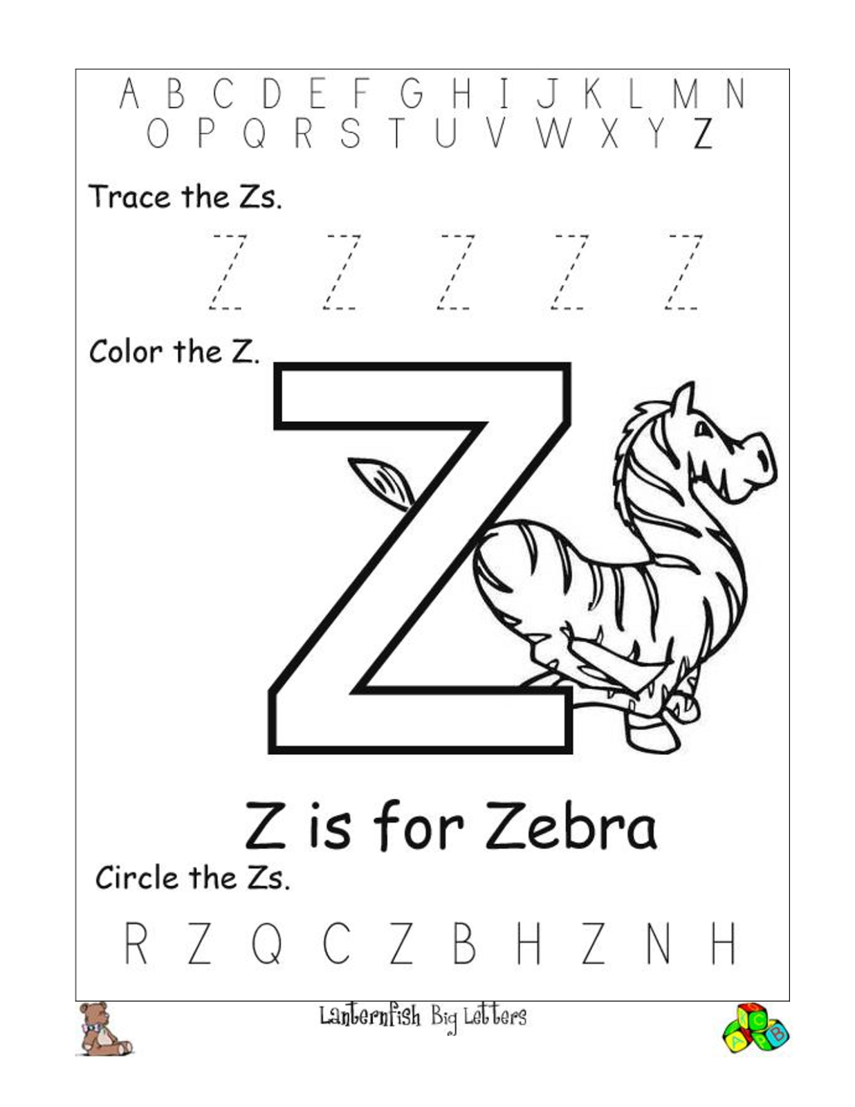 Letter Z Worksheets To Print