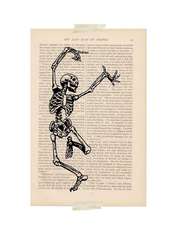 I like a joyful skeleton! -------- Halloween decor - DANCING - print halloween decorations