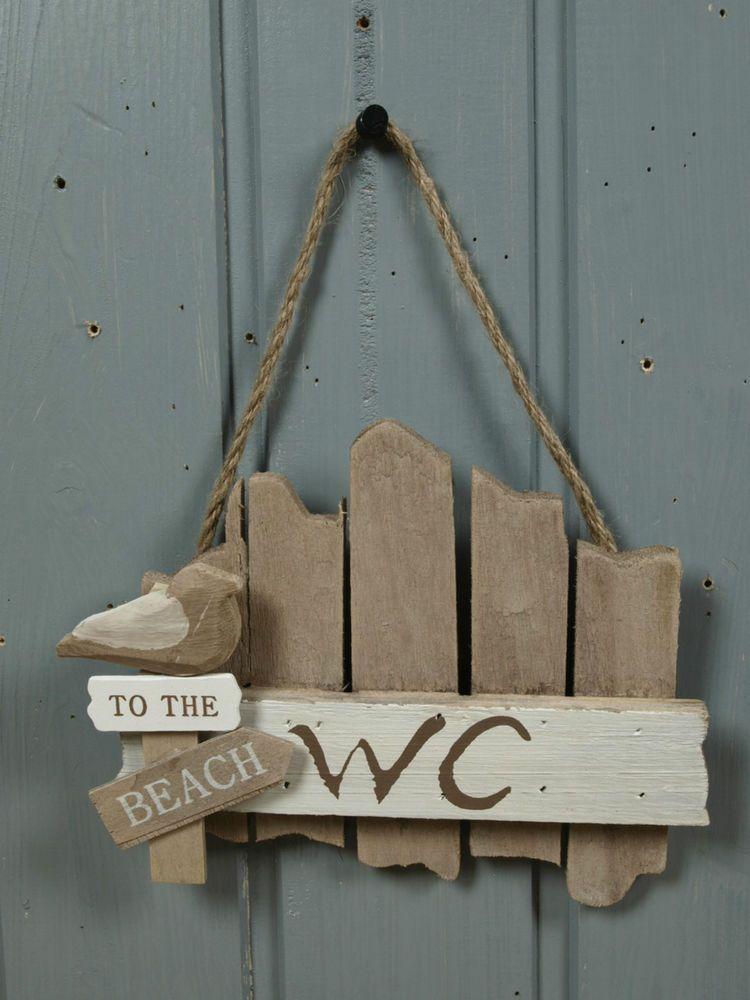 T Rschild Wc Aus Holz To The Beach Ca 17x14cm