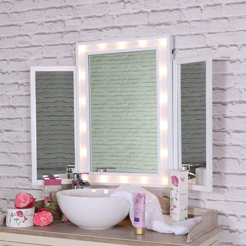 Large White Led Light Up Triple Vanity Mirror