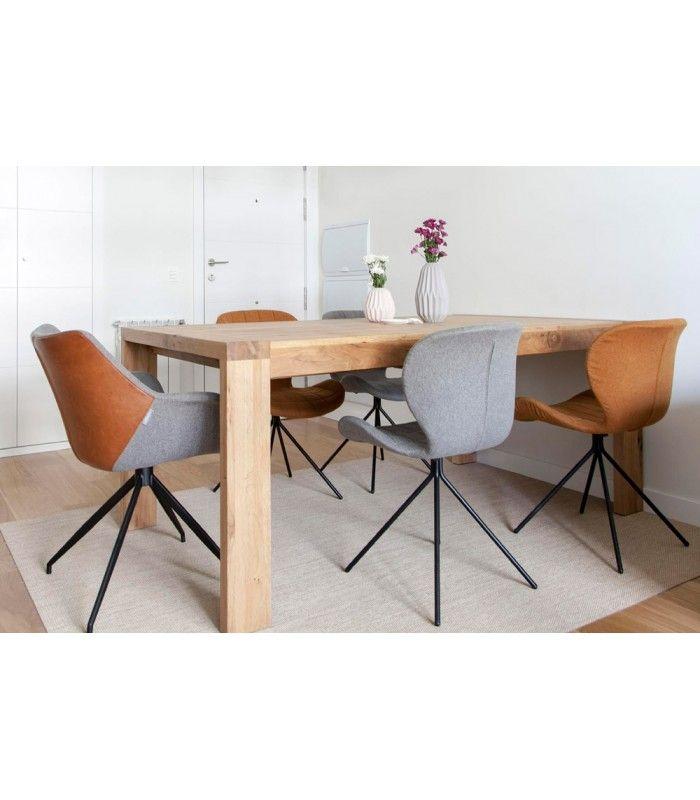 Mesa de comedor extensible de madera maciza de roble MALMO combinada ...