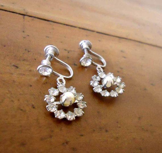 Vintage Earrings Rhinestone and Faux Pearl by FaulknerHouseVintage, $7.00