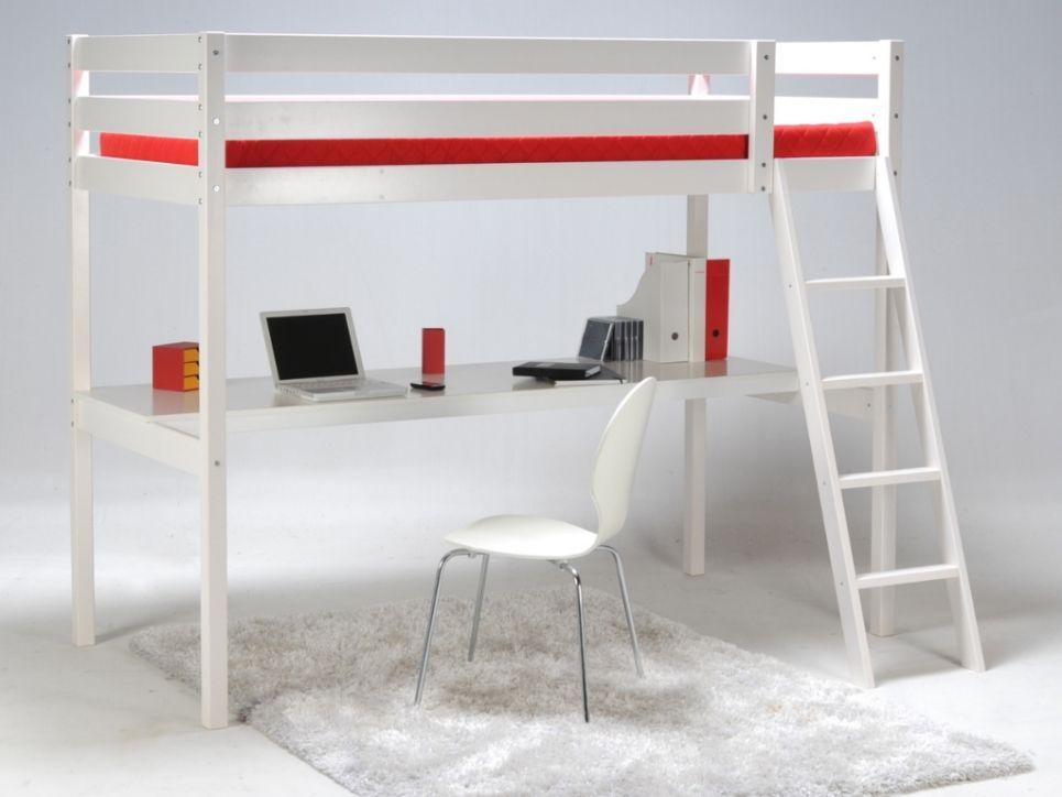 Cama alta PRADO - 90x190 cm - Escritorio integrado - Madera blanca ...
