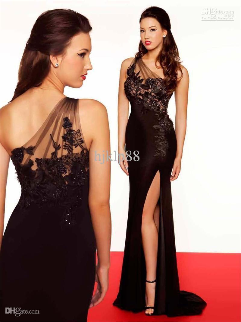 Discount new arrive elegant applique lace slit mermaid evening
