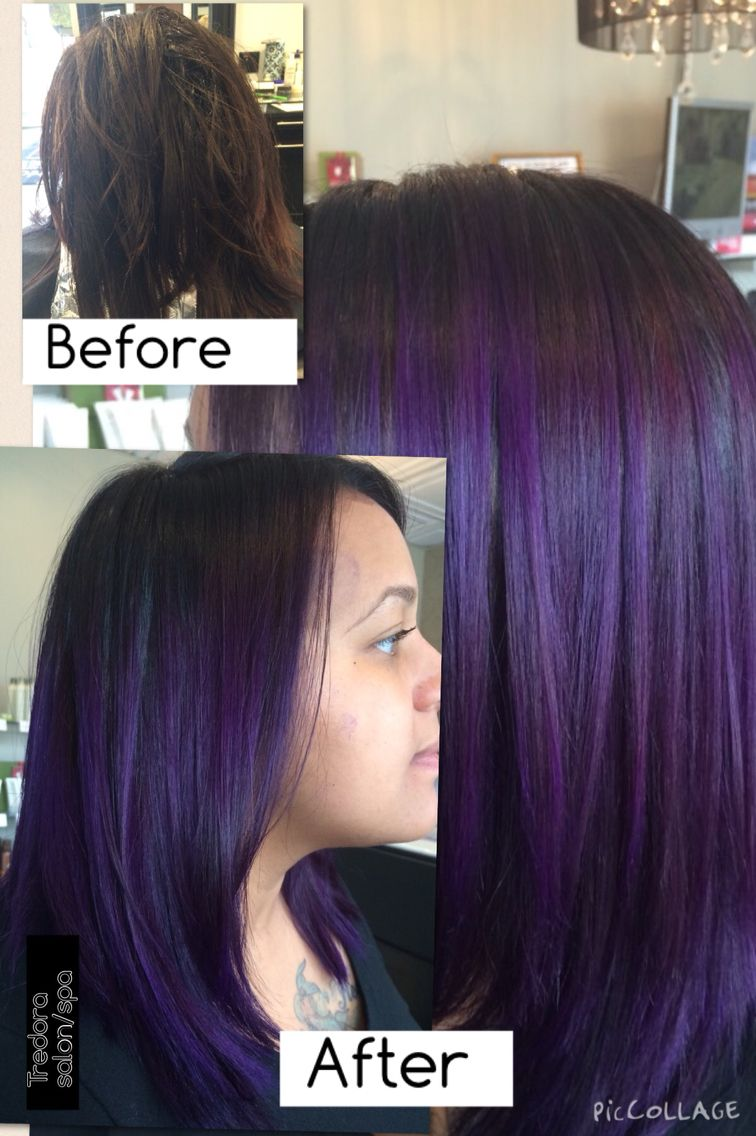 Before After Black Violet Roots And Base Color Balayage Ombre With Lightener And Pravana Violet Overlay Lilac Hair Cute Hair Colors Balayage