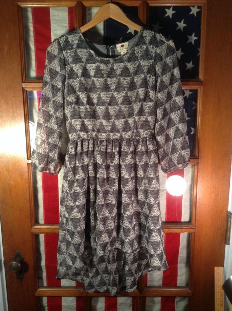 Heart One Clothing Geometric Blue Grey Black DRESS Tapered Triangle Full Zip New #StitchedHeartOneClothing #Tunic #Casual