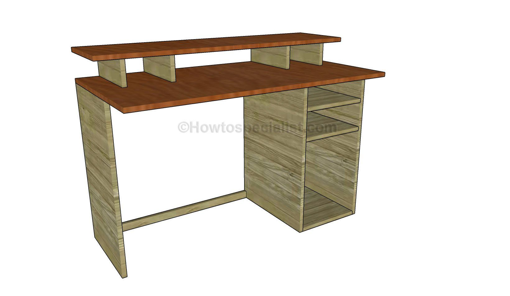 Free Computer Desk Plans Howtospecialist How To Build Step By Step Diy Plans Computer Desk Plans Built In Computer Desk Woodworking Desk Plans