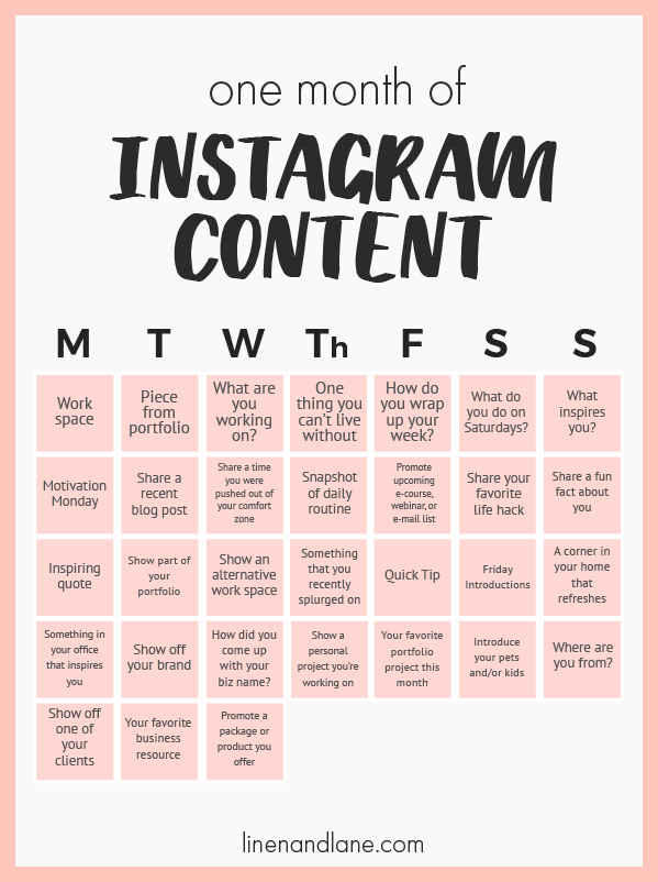 One month of content ideas for your Instagram Grid
