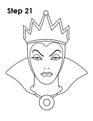 How To Draw The Evil Queen Snow White Disney Art Disney Drawings Queen Drawing