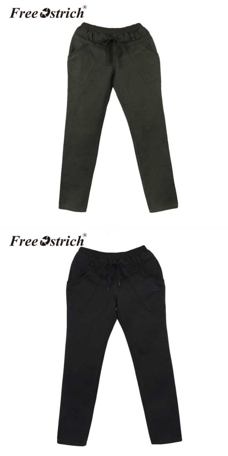 3f76bce932a Denim harem pants women casual solid elastic waist pleated pocket full  length trousers women s40  polyester