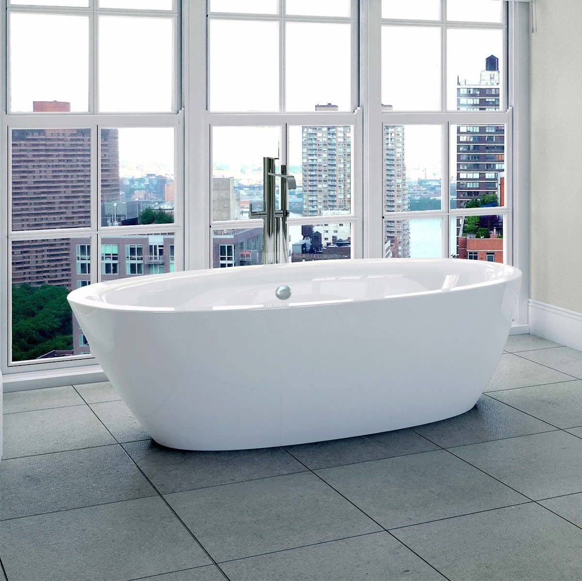 Large image of April Cayton Modern Freestanding Oval Bath ...