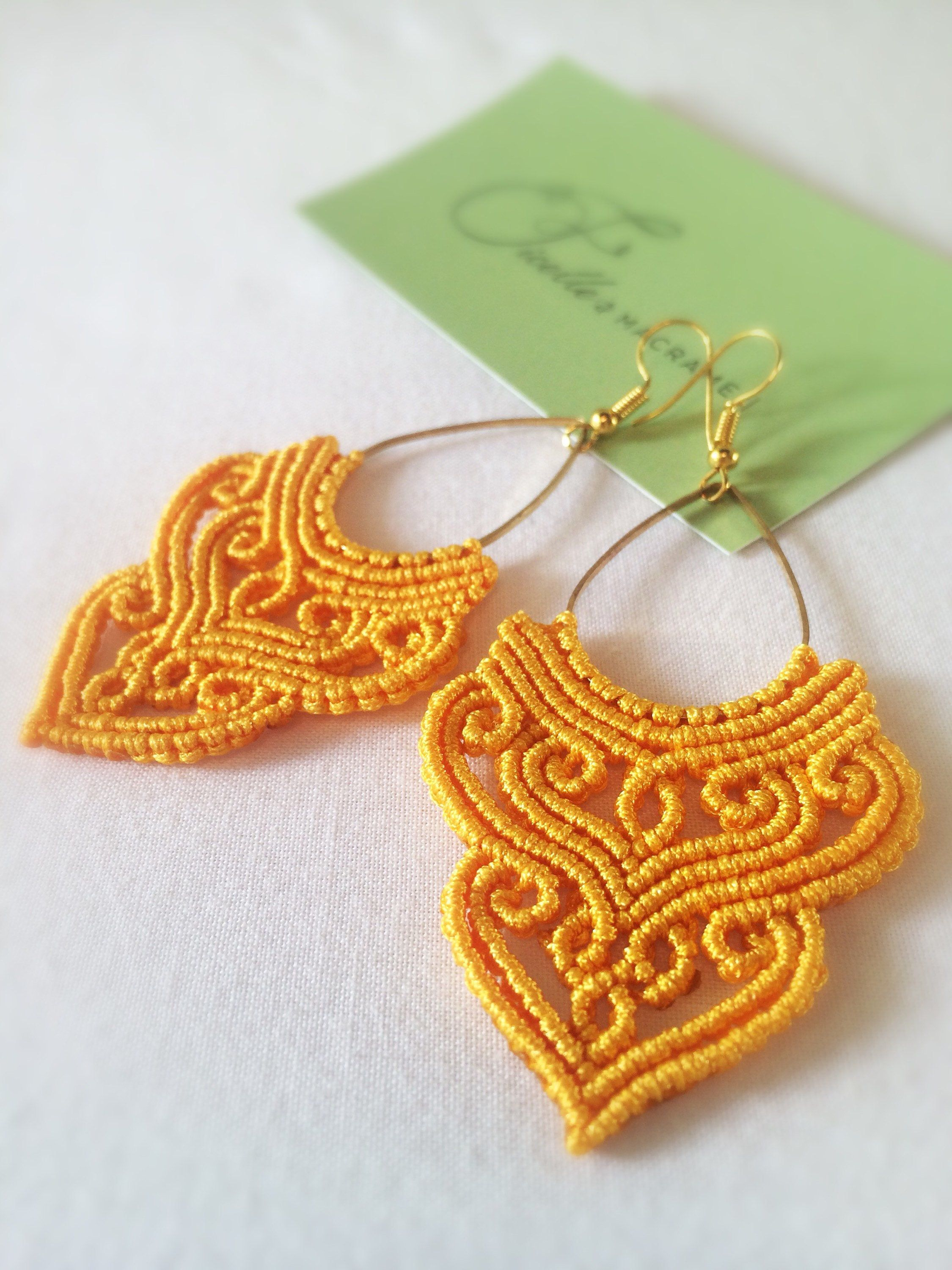 Photo of Silver macrame earrings Golden Yellow Macrame earrings Bright earrings Summer earrings Colorful earrings Birthday gift Valentine's Day gift