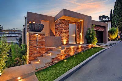 Diseo de una moderna casa de piedra con hormign en la colina Studio