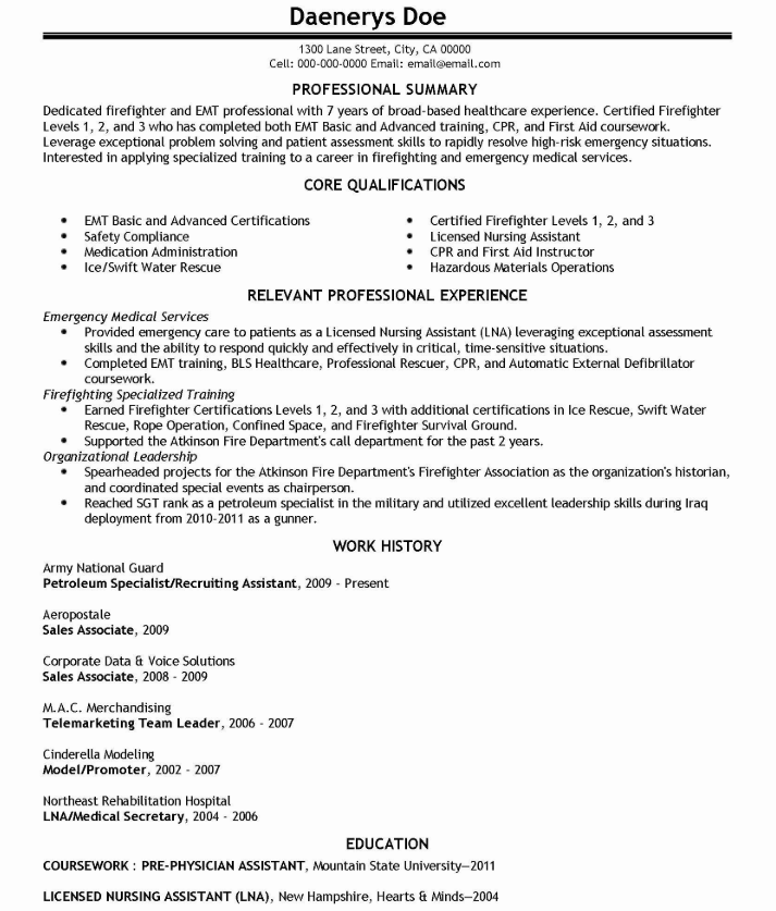 Emt Resume Sample Examples Emergency Medical Technician Resume Skills Medical Technician Resume Skills Section