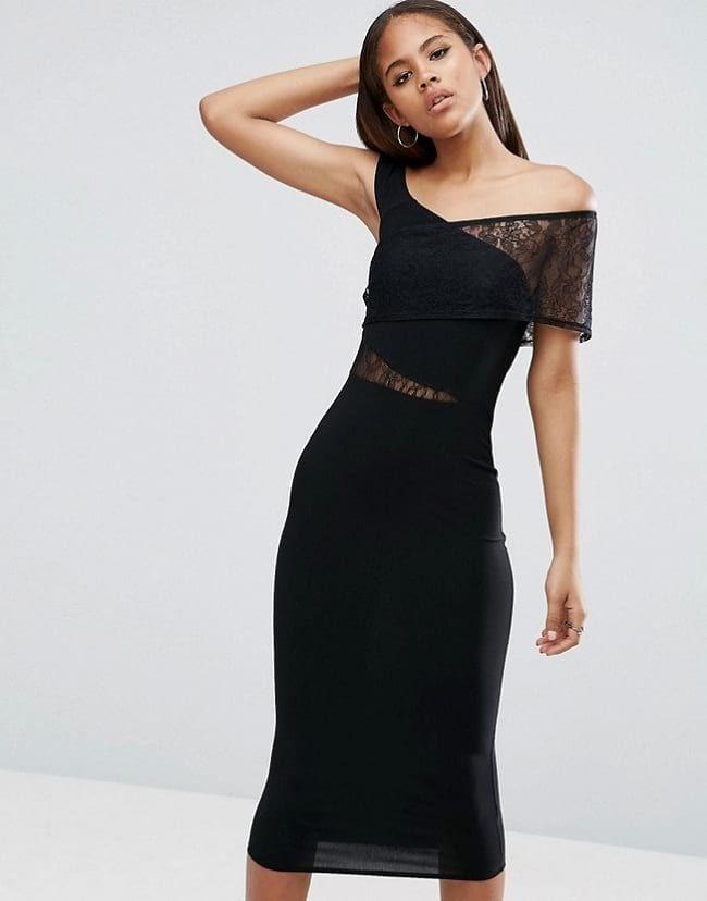 79cfcc7d Asos Tall Black Slinky Lace Insert Midi Dress   Women's Trending ...