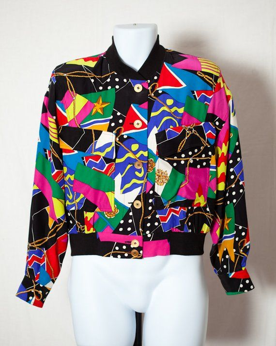 84cd190c6beed Vintage 80s 90s Colorful Womens Silk Blouse Windbreaker - DANA BUCHMAN