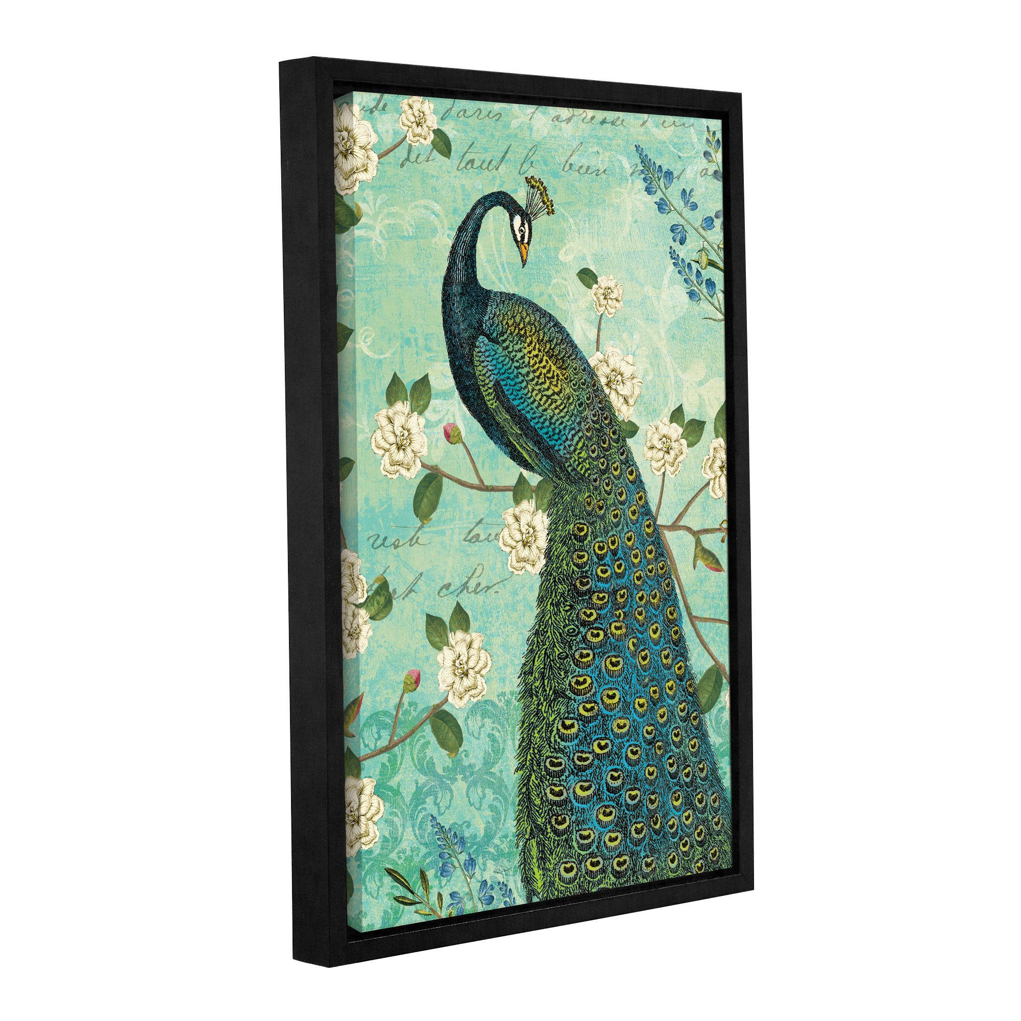 Sue schlabach peacock arbor iv blue framed graphic art products