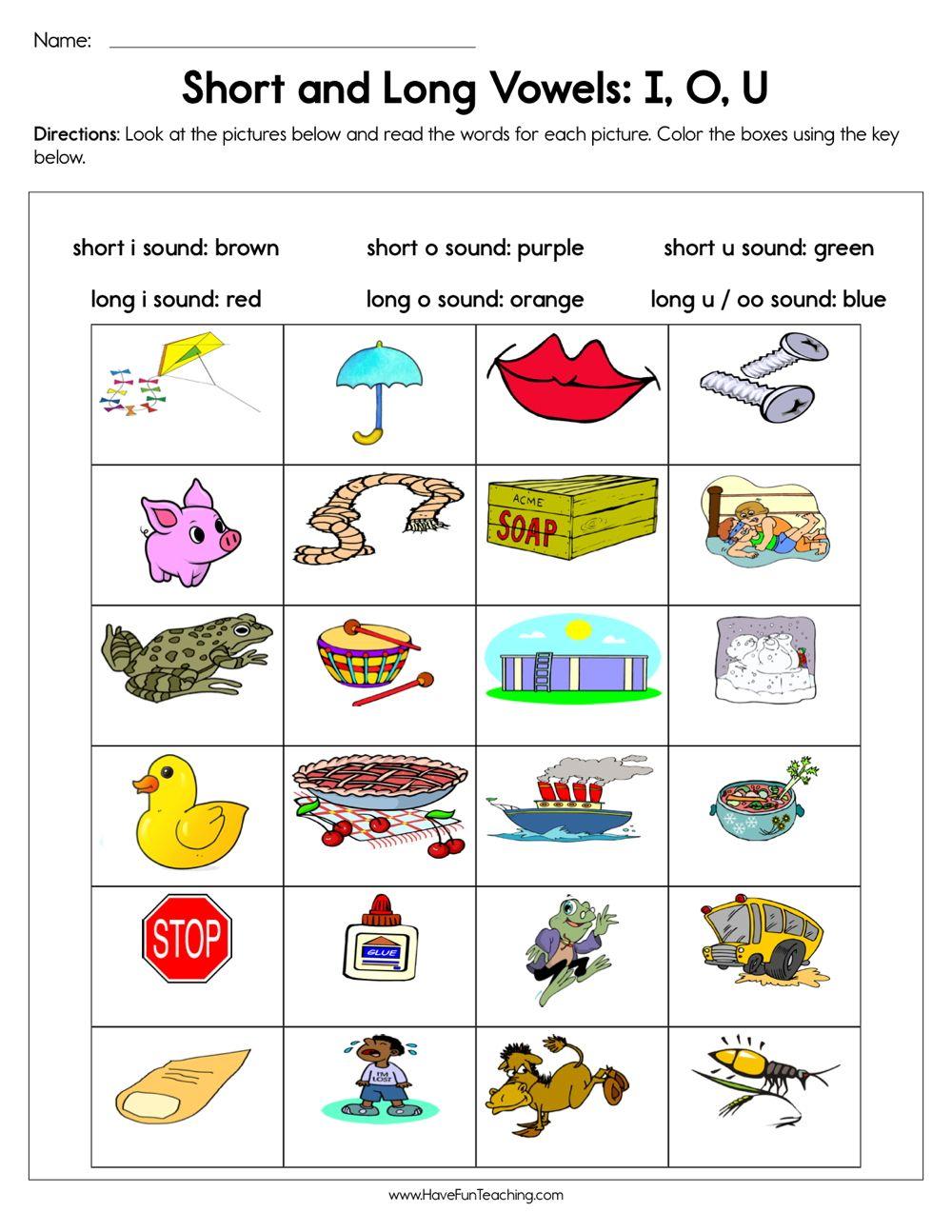 Short And Long Vowels I O U Worksheet Vowel Worksheets Vowel Activities Short Vowel Activities [ 1294 x 1000 Pixel ]