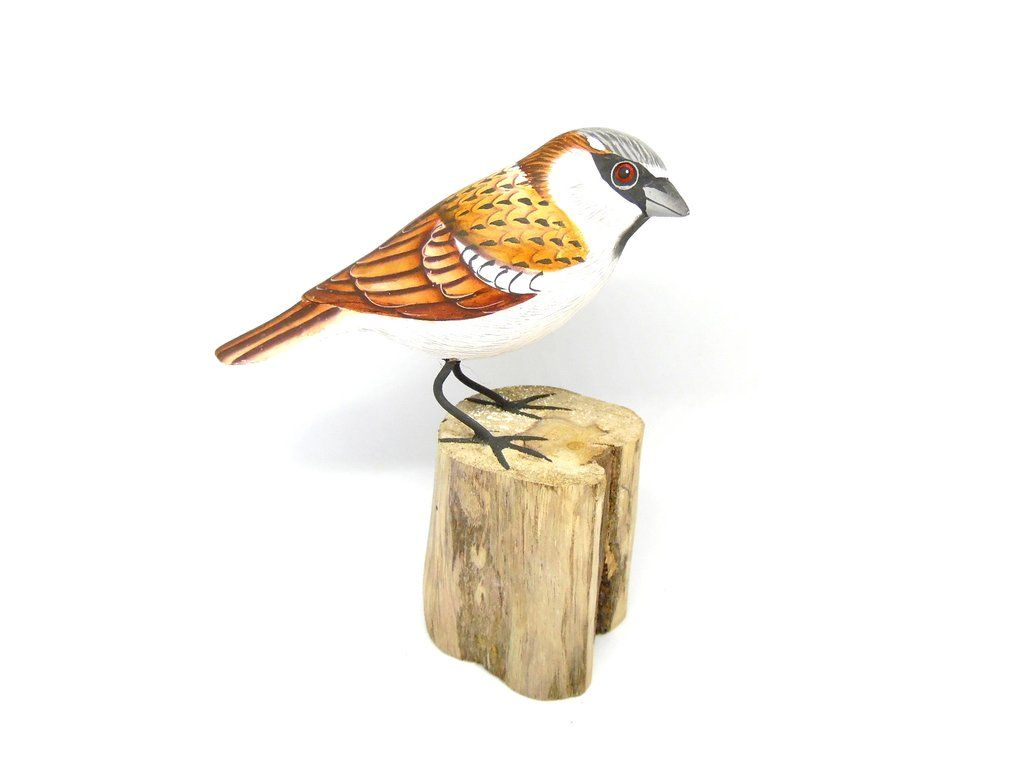 House Sparrow Hand Painted Wooden Ornament Wooden Ornaments Hand Painted Ornaments