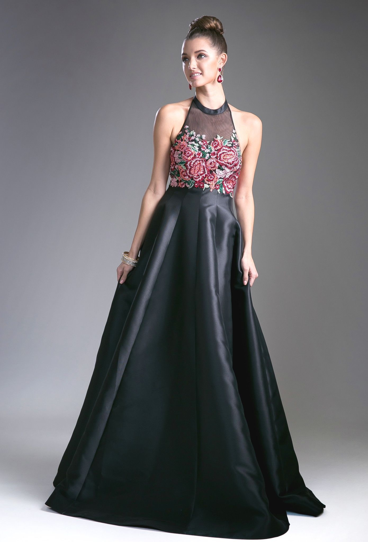 Black halter evening dress with floral top by cinderella divine