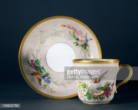 Cup and saucer, part of coffee service, ca 1865, porcelain, L'escalier de cristal manufacture, Paris. France, 19th century.