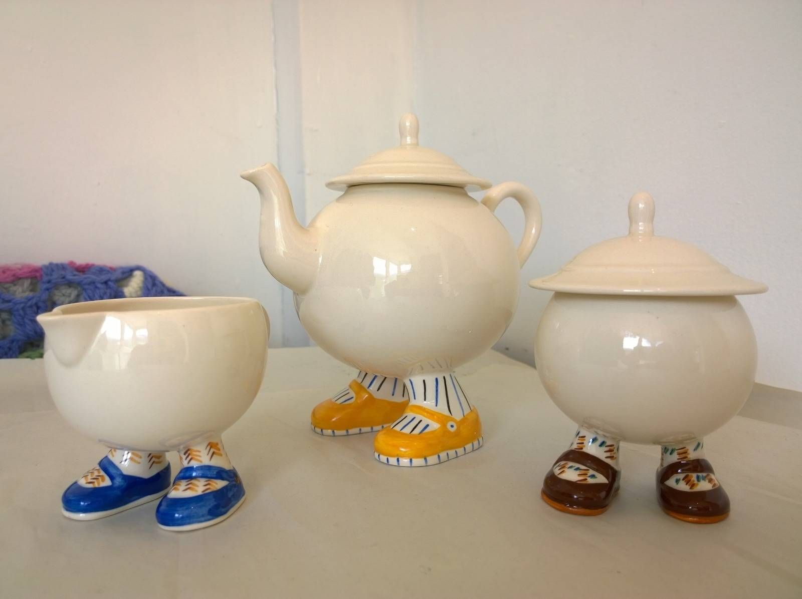Carlton Ware Walking Ware Teapot Sugar And Creamer
